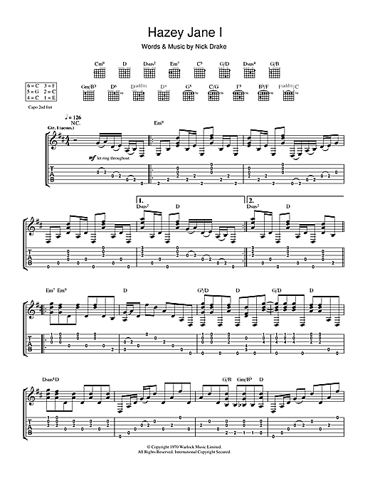 Tablature guitare Hazey Jane I de Nick Drake - Tablature Guitare