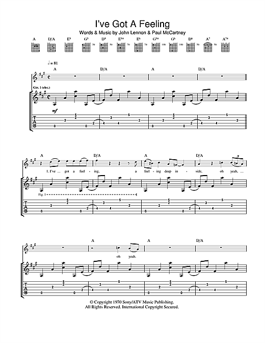 I've Got A Feeling Sheet Music