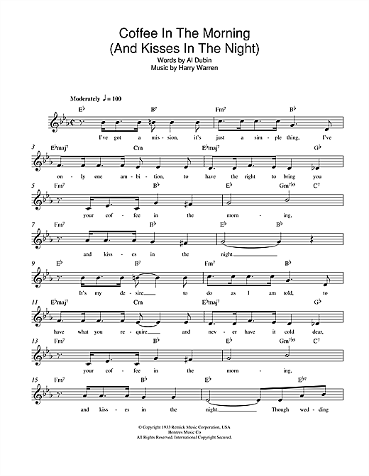 Coffee In The Morning (And Kisses In The Night) (Lead Sheet / Fake Book)