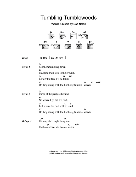 Tumbling Tumbleweeds Sheet Music