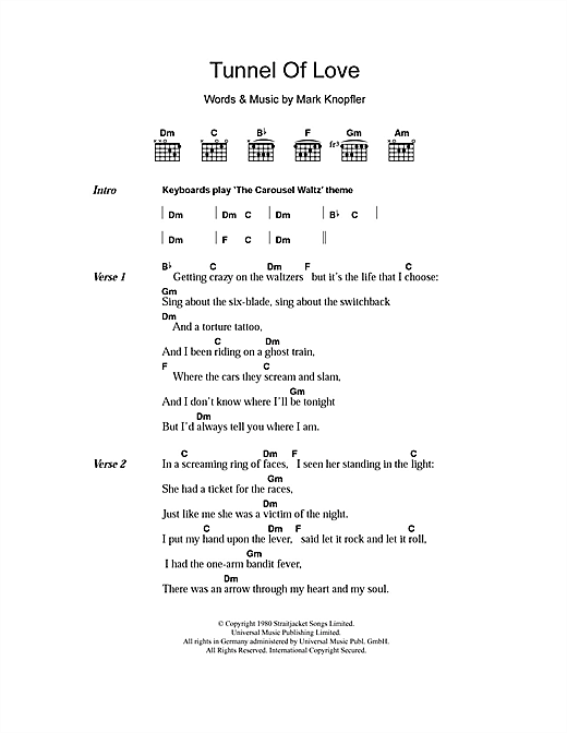 Tunnel Of Love Sheet Music