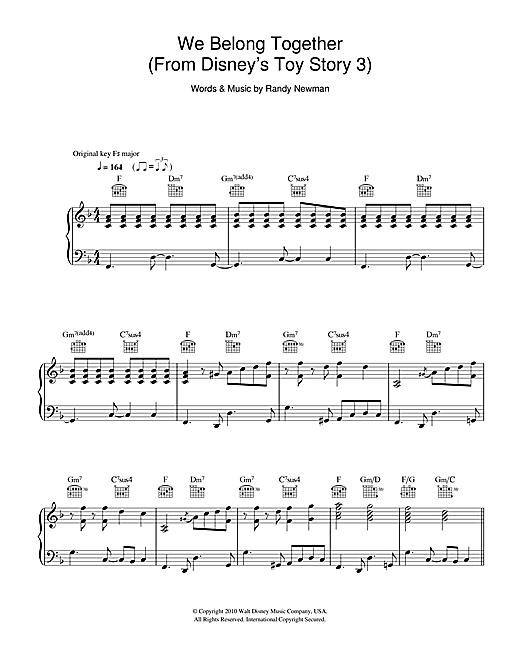 We Belong Together (From Disney's Toy Story 3) Sheet Music