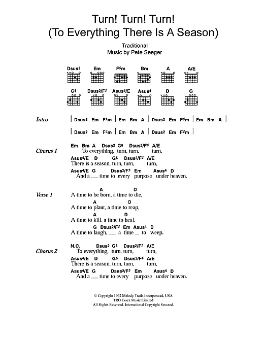 Turn! Turn! Turn! (To Everything There Is A Season) Sheet Music