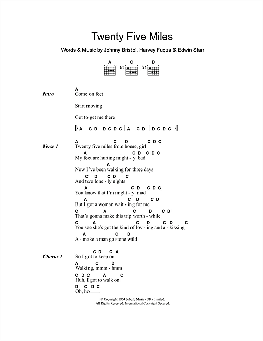 Twenty Five Miles Sheet Music