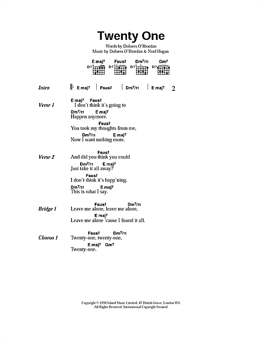 Twenty One Sheet Music