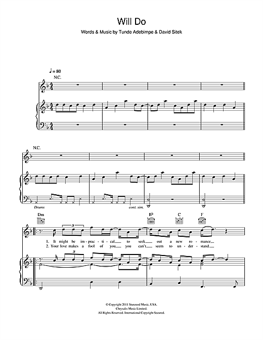 Will Do (Piano, Vocal & Guitar (Right-Hand Melody))