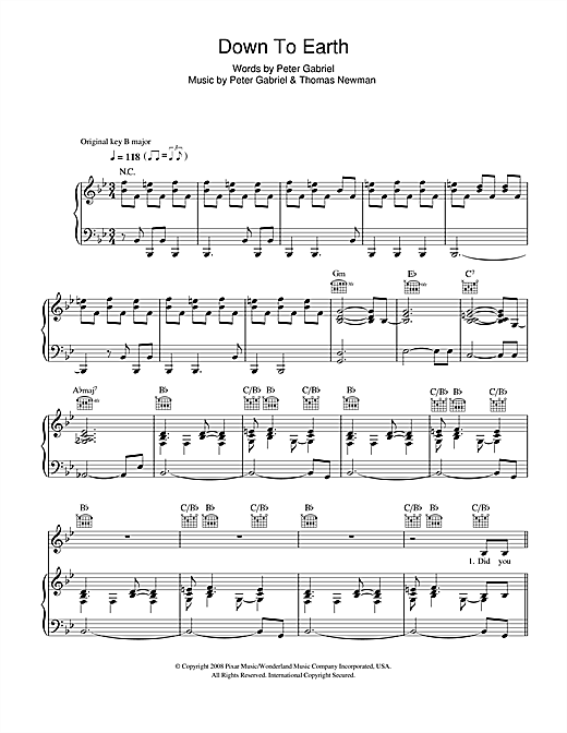 Down To Earth (from WALL•E) Sheet Music