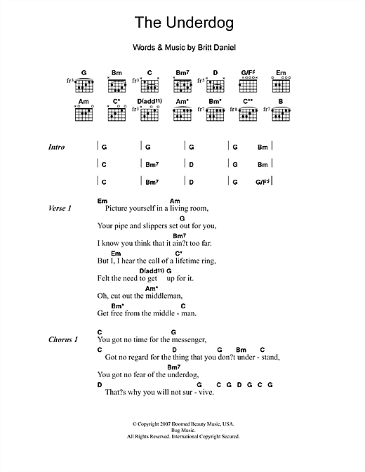 The Underdog (Guitar Chords/Lyrics)