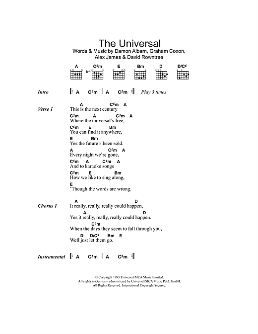 The Universal (Guitar Chords/Lyrics)