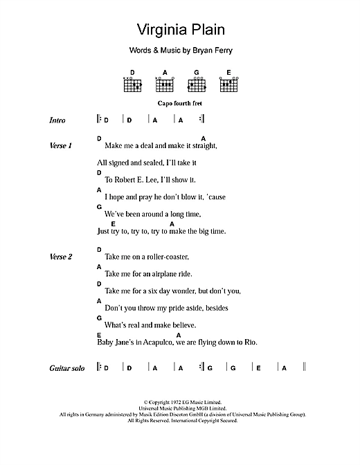 Virginia Plain Sheet Music By Roxy Music Lyrics Chords 108607