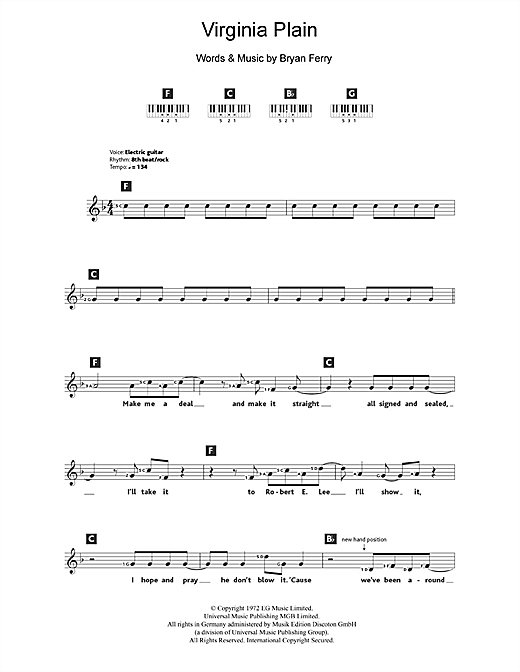 virginia plain sheet music by roxy music  keyboard  u2013 108608