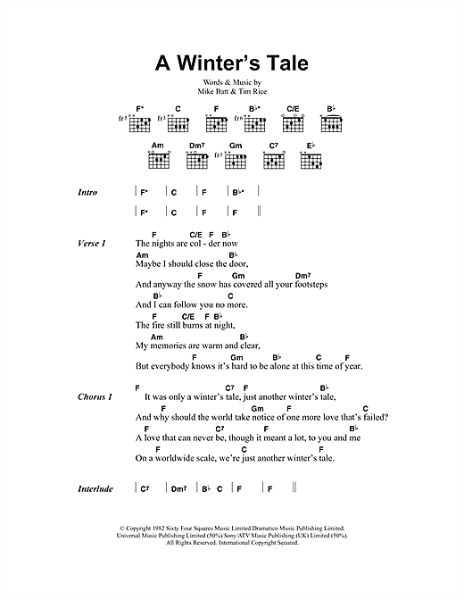 A Winter's Tale (Guitar Chords/Lyrics)