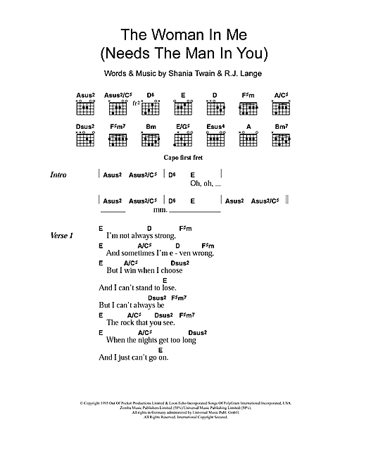 The Woman In Me (Needs The Man In You) Sheet Music