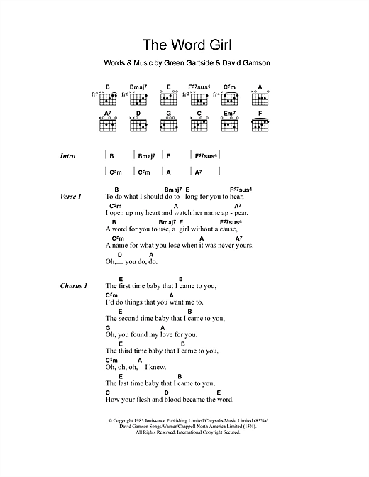 The Word Girl Sheet Music