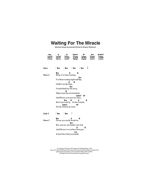 Waiting For The Miracle Sheet Music