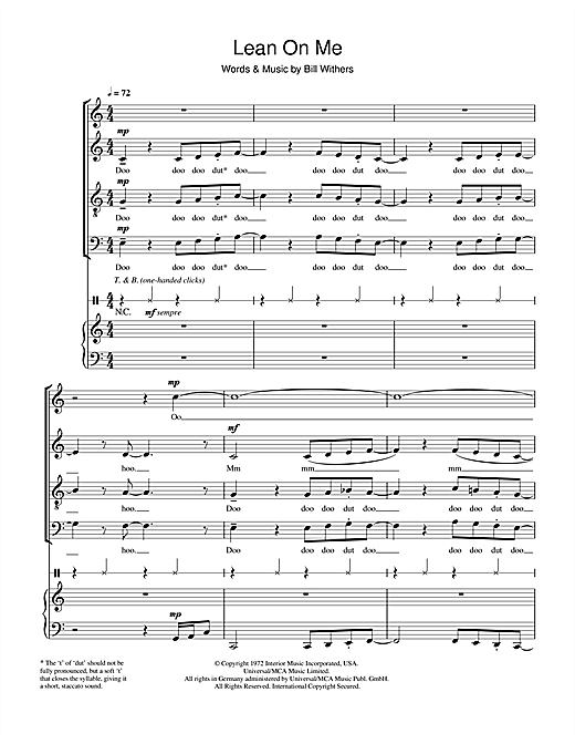 Partition chorale Lean On Me de Bill Withers - SATB