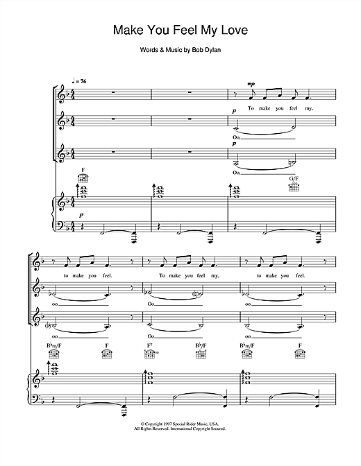Make You Feel My Love (arr. Jeremy Birchall) Sheet Music