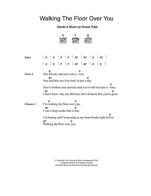 Nice Ernest Tubb: Walking The Floor Over You   Lyrics U0026 Chords