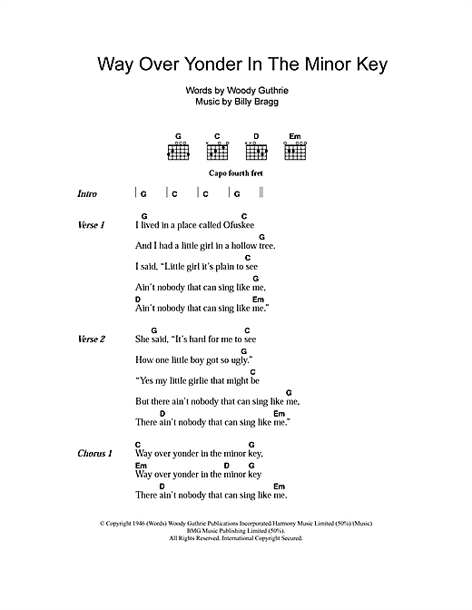 Way Over Yonder In The Minor Key Sheet Music