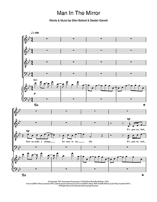 Man In The Mirror (arr. Jonathan Wikeley) (SATB Choir)