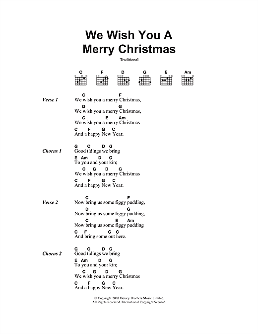 We Wish You A Merry Christmas (Guitar Chords/Lyrics)