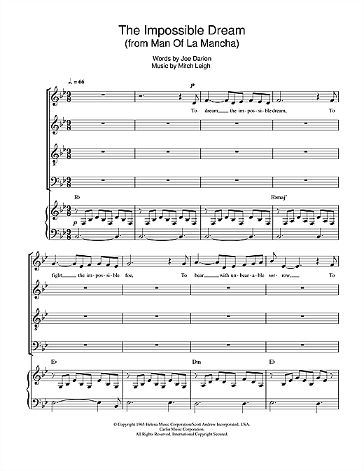 Partition chorale The Impossible Dream (from Man Of La Mancha) de Mitch Leigh - SATB