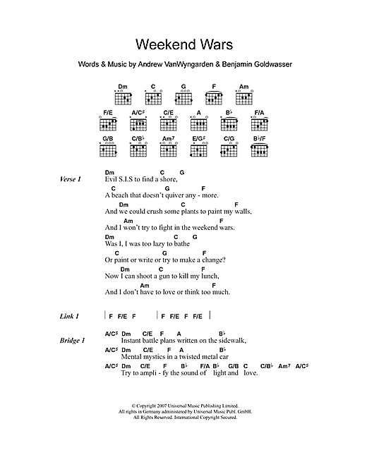 Weekend Wars Sheet Music