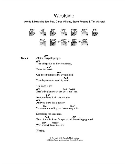 Westside (Guitar Chords/Lyrics)