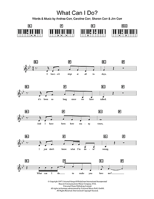 Partition piano What Can I Do de The Corrs - Synthétiseur