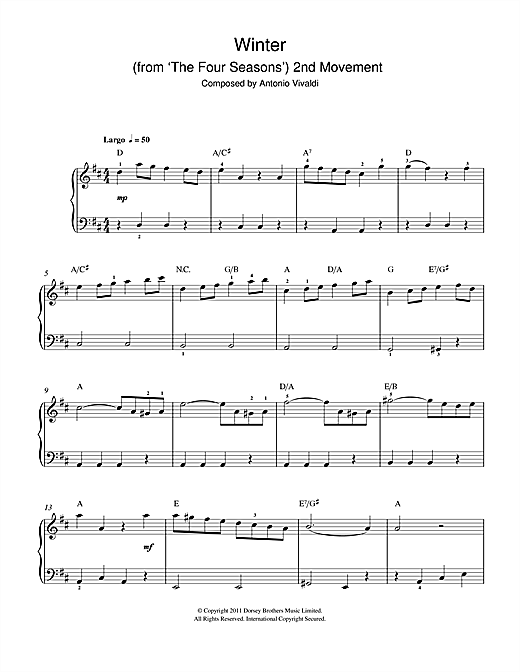 Partition piano Winter from The Four Seasons (Second movement de Antonio Vivaldi - Autre