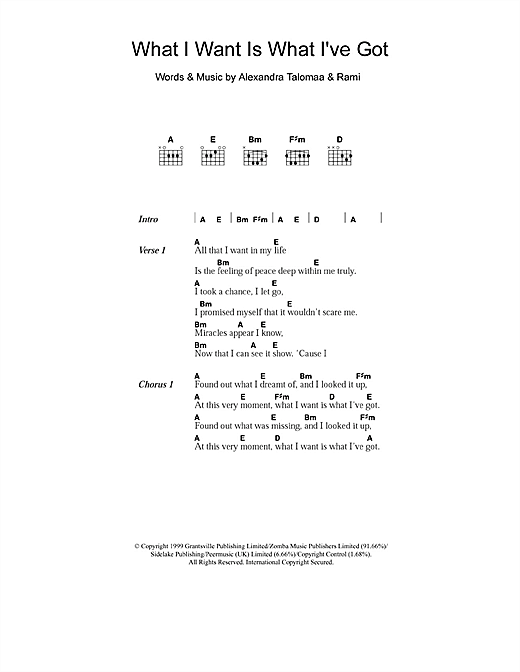 What I Want Is What I've Got (Guitar Chords/Lyrics)