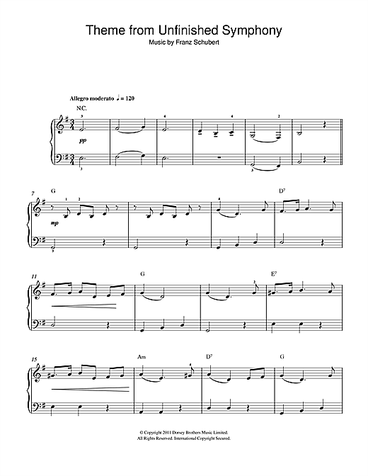 Theme From The Unfinished Symphony (Beginner Piano)