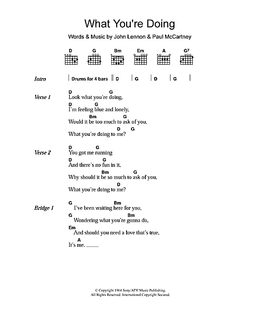 What You're Doing (Guitar Chords/Lyrics)