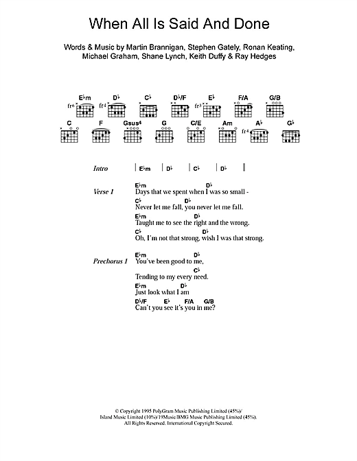When All Is Said And Done (Guitar Chords/Lyrics)