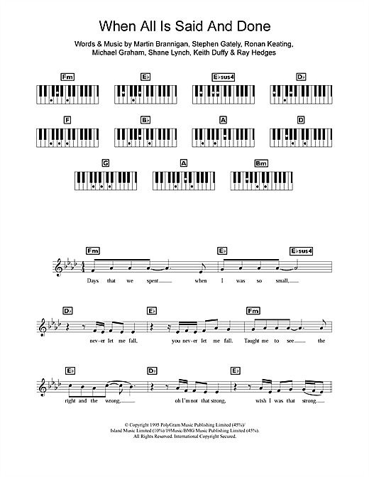 When All Is Said And Done Sheet Music