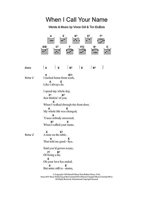 When I Call Your Name (Guitar Chords/Lyrics)