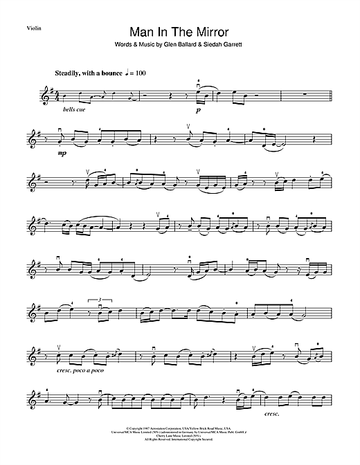 Man In The Mirror Sheet Music