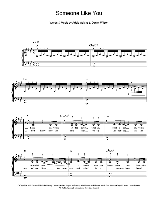 Piano tablature piano facile gratuite : Someone Like You partition par Adele (Piano Facile – 108775)
