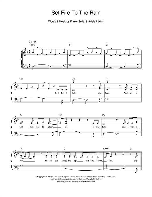 Set Fire To The Rain sheet music by Adele (Easy Piano – 108776)