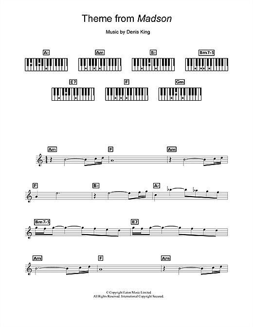 Partition piano Theme from Madson de Denis King - Synthétiseur