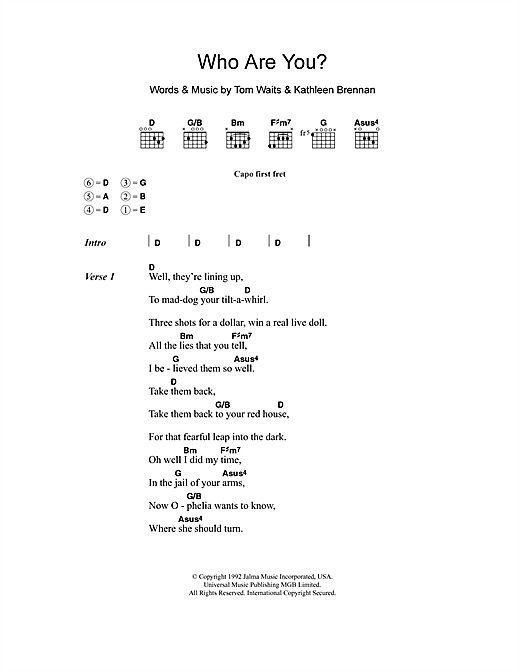 Who Are You (Guitar Chords/Lyrics)