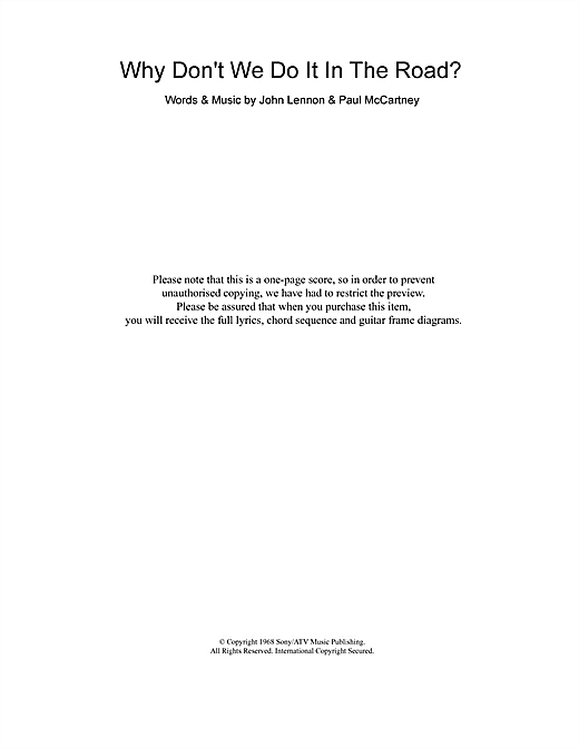 Why Don't We Do It In The Road (Guitar Chords/Lyrics)