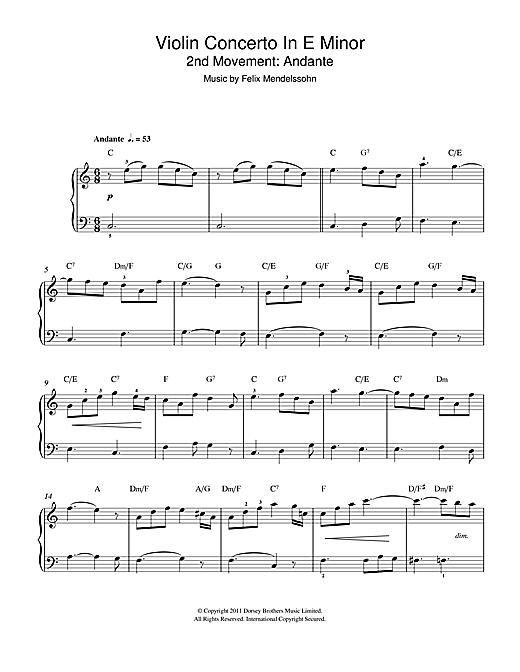 Partition piano Violin Concerto In E Minor, 2nd Movement de Felix Mendelssohn - Piano Facile