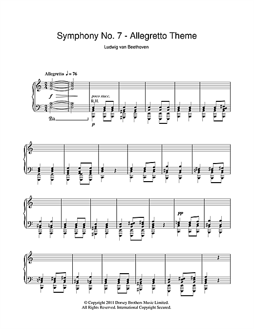 Partition piano Allegretto from Symphony No. 7 in A major (Second Movement) de Lugwig Van Beethoven - Piano Solo
