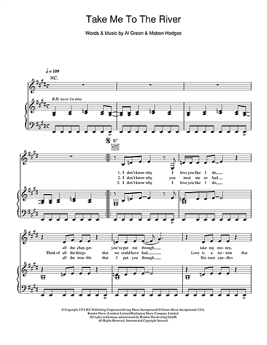 Take Me To The River Sheet Music