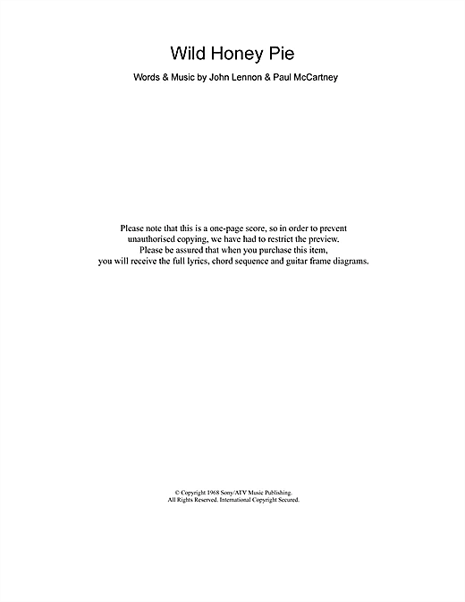 Wild Honey Pie (Guitar Chords/Lyrics)