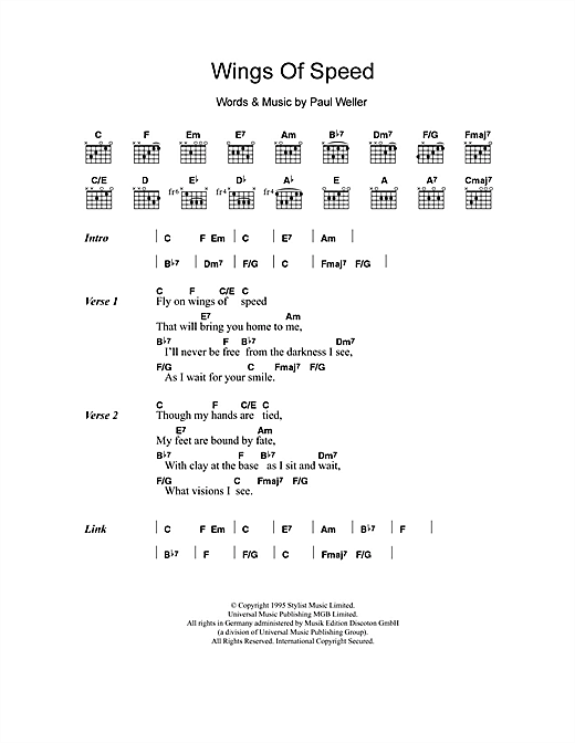 Wings Of Speed (Guitar Chords/Lyrics)