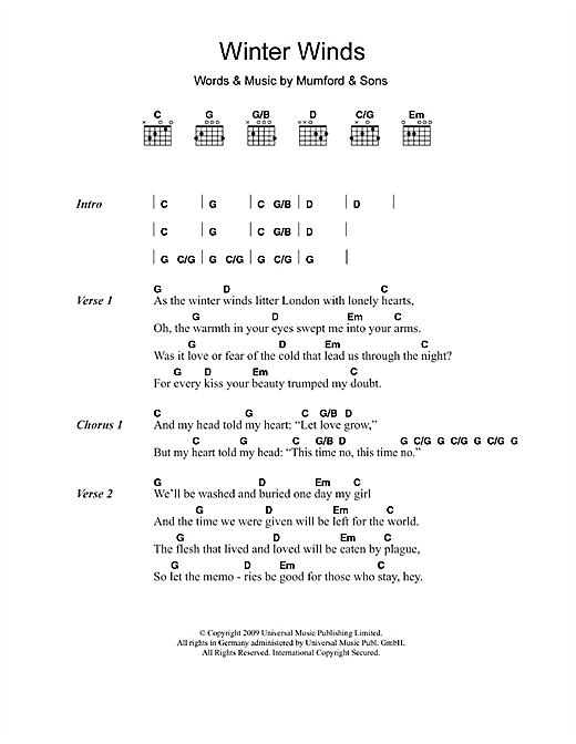 Winter Winds sheet music by Mumford u0026 Sons (Lyrics u0026 Chords u2013 108832)