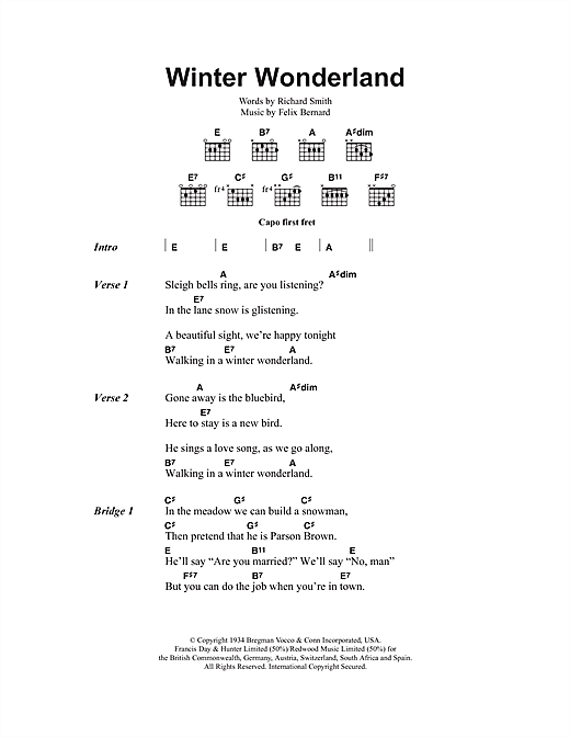 Winter Wonderland (Guitar Chords/Lyrics)