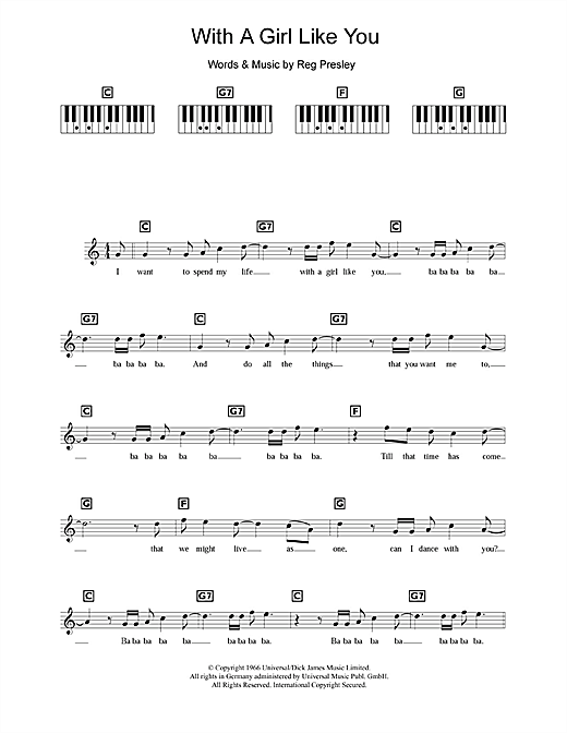 With A Girl Like You Sheet Music
